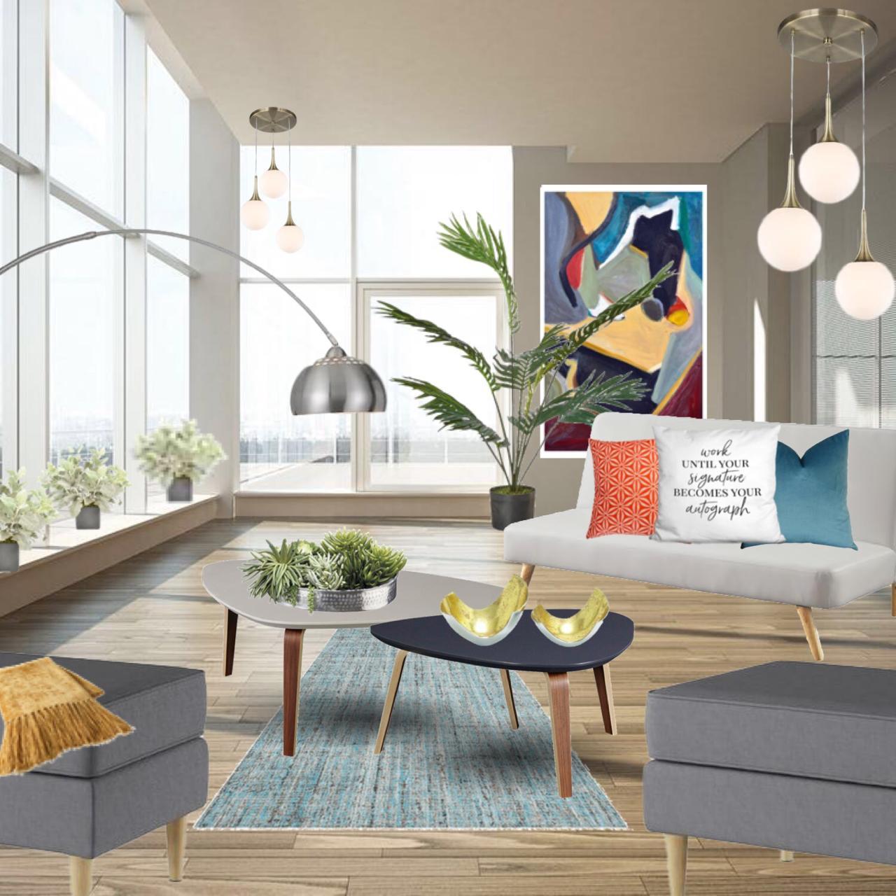 Decoración de penthouse: Sala cálida y moderna